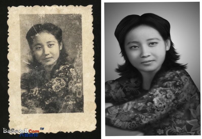 老照片修复 -- 鲜艳少女的旧照片修复