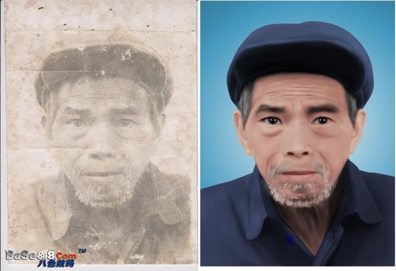 老照片修复  --  戴帽子的老爷爷模糊变清晰