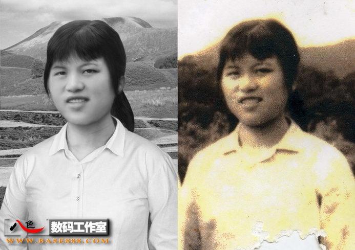 老相片修复-田野风景里的姑娘
