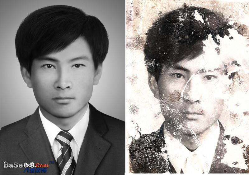 旧相片修补 -- 西装男的旧照片修复