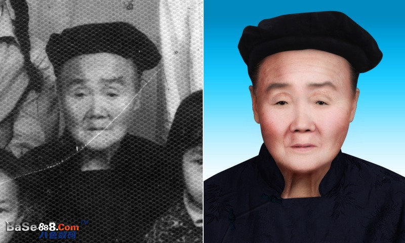 旧照片翻新-- 网纹比较多的老奶奶的真人皮肤彩色修复