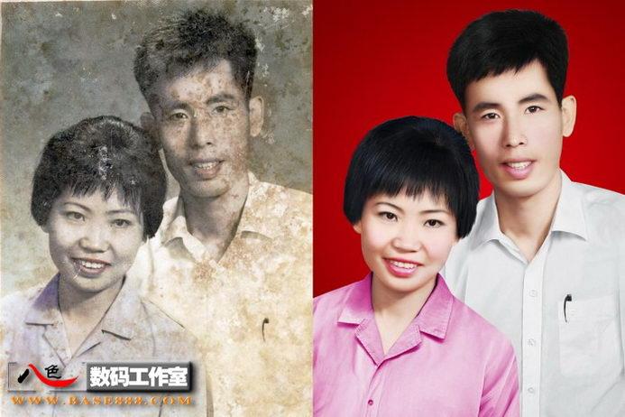 旧照片处理-一对年轻漂亮的伉俪模糊变清晰